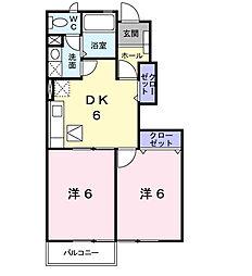 山口県下関市富任町5丁目の賃貸アパートの間取り