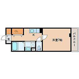 近鉄天理線 天理駅 徒歩5分の賃貸アパート 2階1Kの間取り