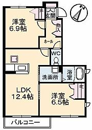山口県下関市山の田西町の賃貸アパートの間取り