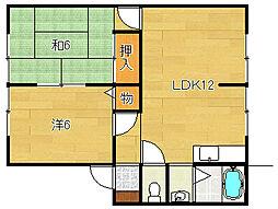 大阪府茨木市十日市町の賃貸アパートの間取り