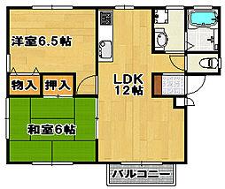兵庫県宝塚市山本中1丁目の賃貸アパートの間取り