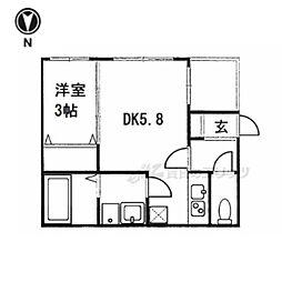 近鉄京都線 伏見駅 徒歩5分の賃貸アパート 1階1Kの間取り