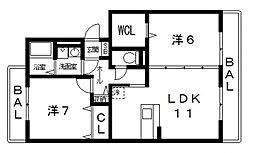 レフィナードカルチェD棟[302号室号室]の間取り