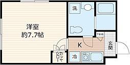 JR京浜東北・根岸線 川崎駅 徒歩7分の賃貸マンション 2階1Kの間取り