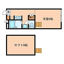 近鉄奈良線 富雄駅 徒歩20分の賃貸マンション 2階1Kの間取り