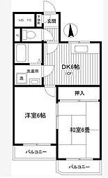 神奈川県横浜市中区本牧間門の賃貸マンションの間取り