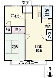 タウンナカヤシキ[2階]の間取り