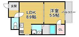 フジパレス若江岩田ノース 2階1LDKの間取り