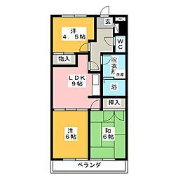 ユーハウス左京山[3階]の間取り