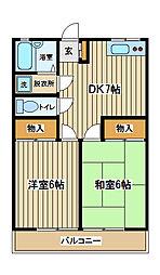 東京都府中市分梅町3丁目の賃貸アパートの間取り