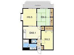 JR日豊本線 国分駅 徒歩32分の賃貸マンション 3階3DKの間取り