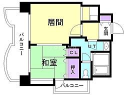 札幌ビオス館 5階1LDKの間取り