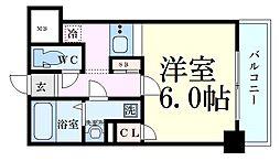 レジデンス福島 5階1Kの間取り