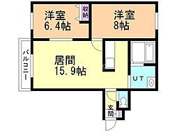 山弘プレイスII 4階2LDKの間取り