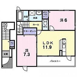 埼玉県熊谷市船木台2丁目の賃貸アパートの間取り