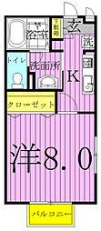 千葉県柏市西原4の賃貸アパートの間取り