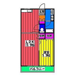 福岡県福岡市博多区上牟田2丁目の賃貸マンションの間取り
