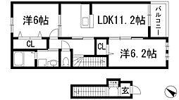 兵庫県川西市錦松台の賃貸アパートの間取り