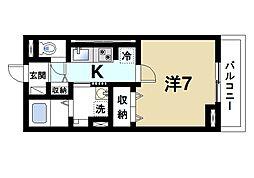 JR関西本線 奈良駅 徒歩6分の賃貸アパート 3階1Kの間取り