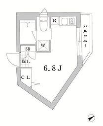 東京メトロ丸ノ内線 中野新橋駅 徒歩8分の賃貸マンション 4階ワンルームの間取り