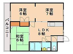 福岡県福岡市南区西長住2丁目の賃貸マンションの間取り