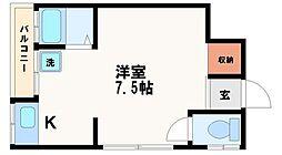 大阪府大阪市中央区谷町4丁目の賃貸マンションの間取り