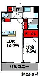 西鉄貝塚線 和白駅 徒歩2分の賃貸マンション 5階1LDKの間取り
