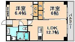 兵庫県伊丹市寺本東2丁目の賃貸マンションの間取り