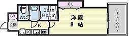 阪急京都本線 崇禅寺駅 徒歩7分の賃貸マンション 14階1Kの間取り