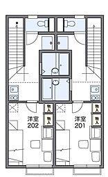 多摩都市モノレール 上北台駅 徒歩18分の賃貸アパート 2階1Kの間取り