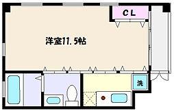 JR東海道・山陽本線 摂津本山駅 徒歩10分の賃貸マンション 3階ワンルームの間取り