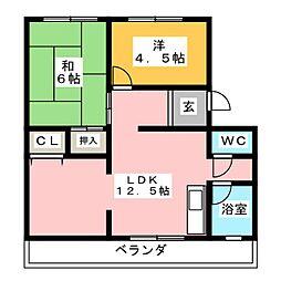 ロンサール高間[3階]の間取り