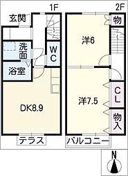 [タウンハウス] 愛知県半田市横川町3丁目 の賃貸【/】の間取り