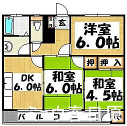 福岡県春日市白水池1丁目の賃貸マンションの間取り