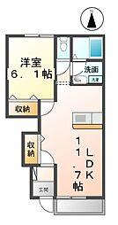 愛知県あま市花長川内の賃貸アパートの間取り