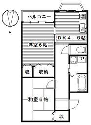 アイランドパレスA・B[2階]の間取り