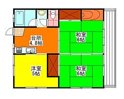 第2太陽アパート[205号室]の間取り