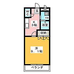 ファンタジーKII[1階]の間取り