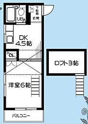神奈川県秦野市河原町の賃貸アパートの間取り