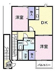 埼玉県入間市大字新久の賃貸アパートの間取り
