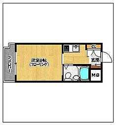 ロマネスク西新オレンジ通り[3階]の間取り