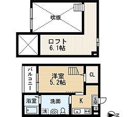 愛知県名古屋市西区笹塚町の賃貸アパートの間取り