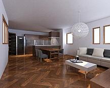 リビングイメージ。オープンキッチンから家族との会話が楽しめます。お客様のライフスタイルに合わせた間取りプランをご提案致します。