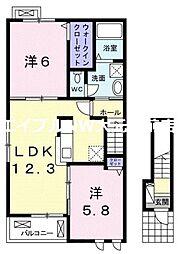 岡山県岡山市南区福富西1丁目の賃貸アパートの間取り