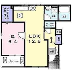 大阪府八尾市東山本町5丁目の賃貸アパートの間取り