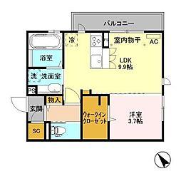 長野県長野市稲里町中氷鉋の賃貸アパートの間取り