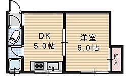 ライズワン阿倍野3[305号室]の間取り