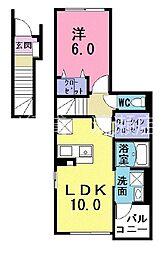 西武池袋線 ひばりヶ丘駅 バス5分 火の見下下車 徒歩4分の賃貸アパート 2階1LDKの間取り