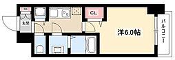 プレサンス名古屋幅下ファビュラス 13階1Kの間取り