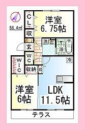 JH エレガント湘南 [ペット可・駐車場1台付][1階]の間取り